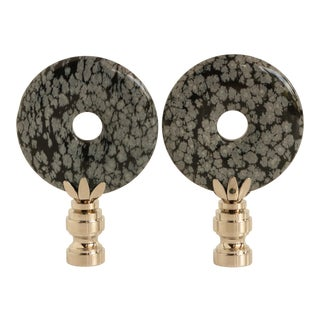Snowflake Obsidian Lamp Finials - a Pair For Sale