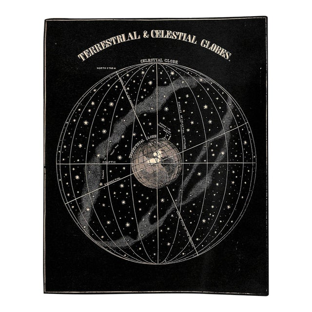1889, Antique Astronomy, Terrestrial & Celestial Globes, Matted For Sale