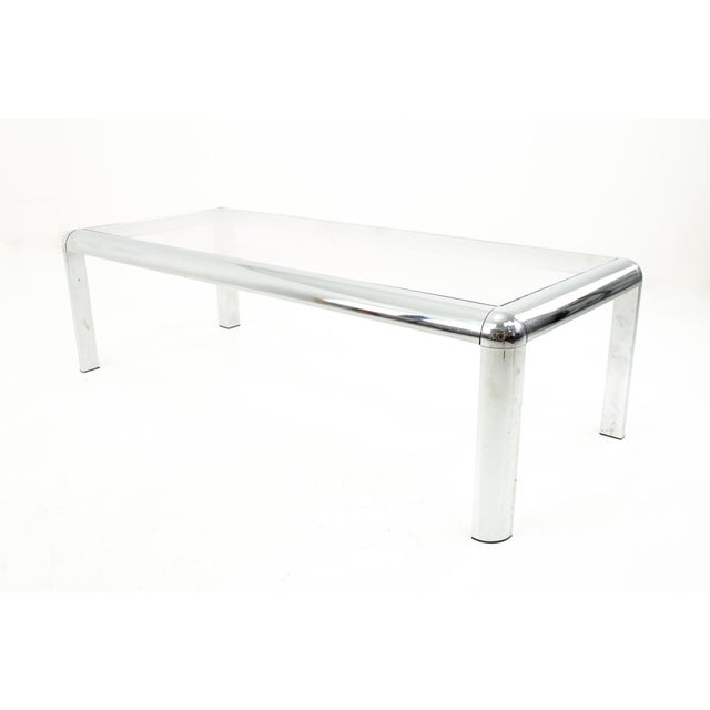 Metal Mid Century Chrome and Glass Coffee Table For Sale - Image 7 of 9