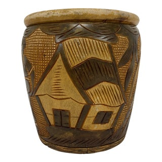 Hand Carved Tree Trunk Vessel For Sale