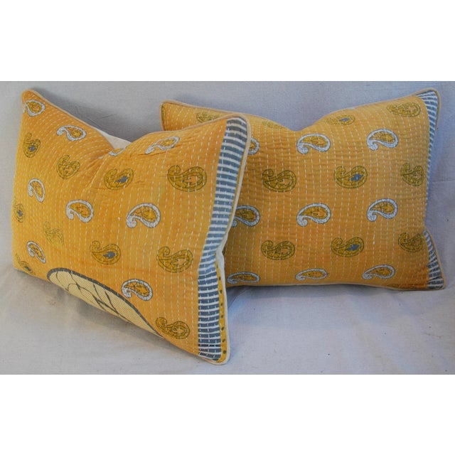 "24"" X 18"" Custom Boho-Chic India Kantha Textile Feather/Down Pillows - Pair - Image 9 of 10"