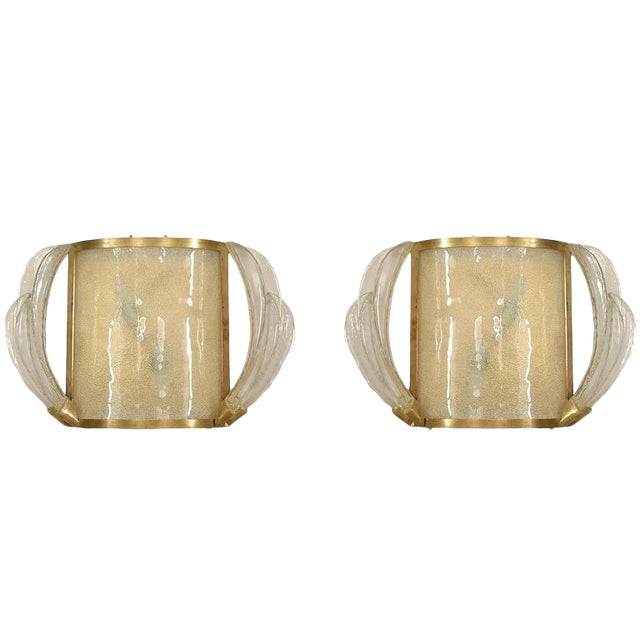 1940s French Bent Glass and Feather Design Sconces - a Pair For Sale
