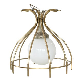 Hollywood Regency Faux Bamboo Brass Chinoiserie Pendant Light For Sale