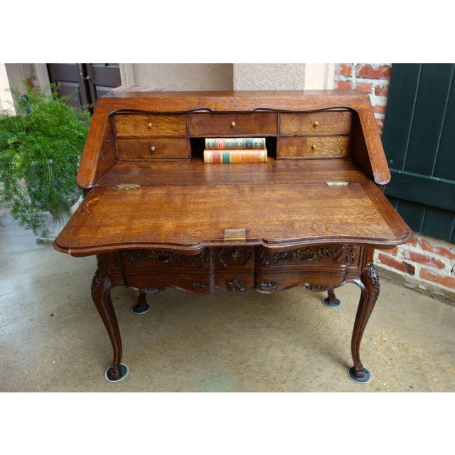 Early 20th Century Antique French Carved Oak Secretary Desk For Sale - Image 5 of 11