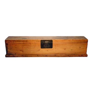 Antique Long Wood Scroll Box with Brass Hardware from China, circa 1800s For Sale