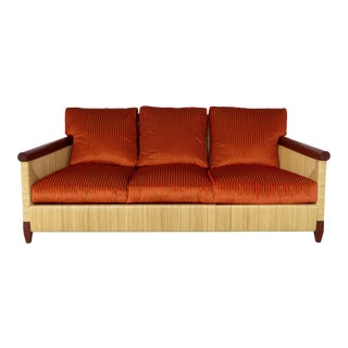 John Hutton for Donghia Wicker Reed and Mahogany Merbau Collection Sofa For Sale