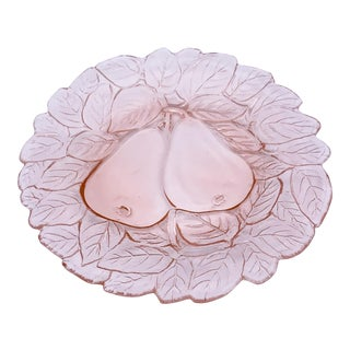 1930s Indiana Glass Company Pink Pear Dessert Plate For Sale