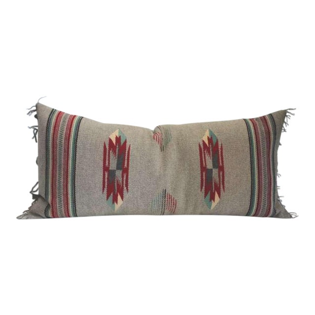 Grey Ground Mexican Serape Bolster Pillow For Sale