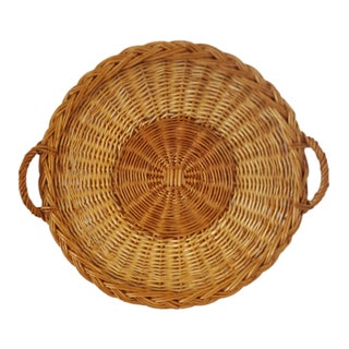 Boho Chic Woven Wicker Tray With Handles For Sale