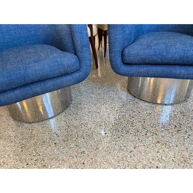 Pace Mid-Century Modern Leon Rosen for Pace Chairs Memory Swivel - a Pair For Sale - Image 4 of 13