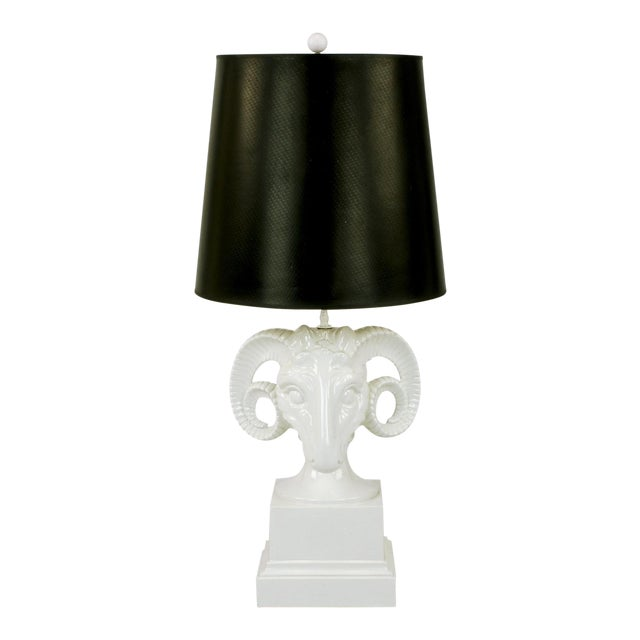 Chapman White Ceramic Ram's Head Table Lamp For Sale