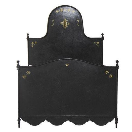 Early 21st Century S&l Designs Black Wrought Iron Twin Bed With Gold Detail For Sale - Image 5 of 5