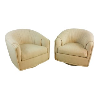 Linen Swivel Chairs - a Pair For Sale