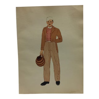 1930s Antique Burgundy Men's Costume Print For Sale