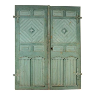 Antique Original Painted Aqua Blue Doors, Great Sliding Door - a Pair For Sale