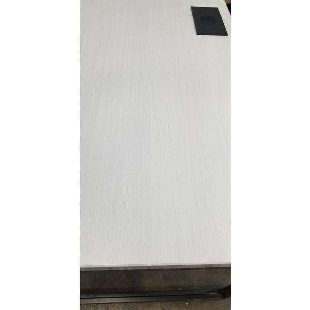2010s West Elm Industrial White Wood Grain Desk For Sale - Image 5 of 6