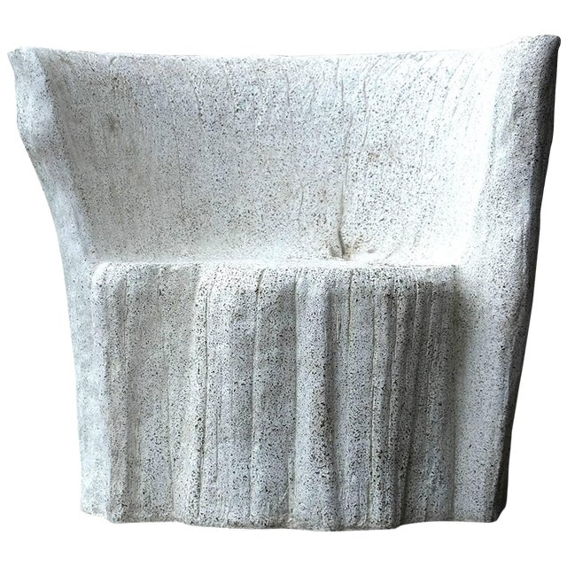 """Zachary A. Design Natural Concrete Finish Cast Resin """"Acacia"""" Chair For Sale"""