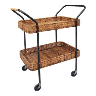 Mid Century Modern Carl Aubock Style Wicker Bar Cart For Sale