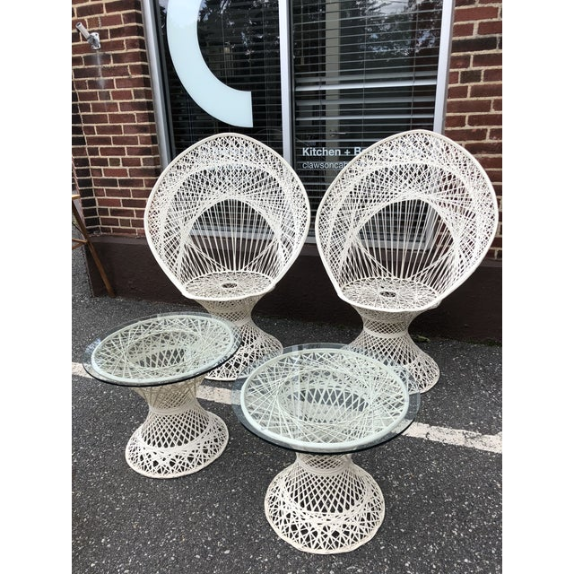 Russell Woodard Peacock Chairs & Glass Top Side Tables - Set of 4 For Sale - Image 9 of 9