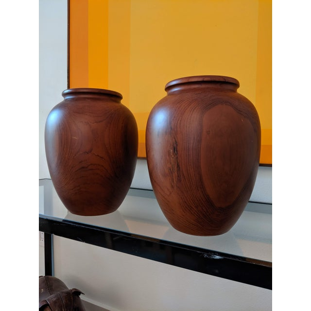 1980s Oversize Turned Walnut Vessels, a Pair For Sale - Image 5 of 12