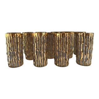 Mid-Century Modern/Hollywood Regency Imperial 24k Gold Bamboo Highball Glasses - Set of 12 For Sale