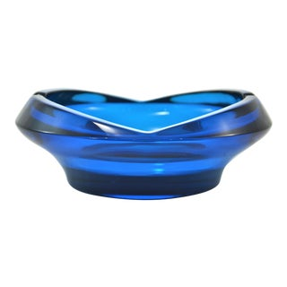 Mid-Century Azure Blue Ashtray For Sale