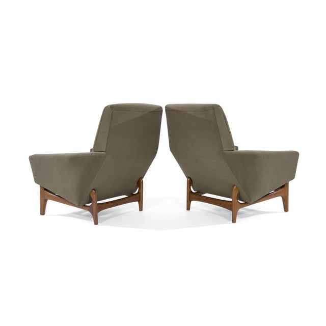 Mid 20th Century Scandinavian Modern Olive Velvet on Sculptural Teak Base Lounge Chairs - a Pair For Sale - Image 5 of 11