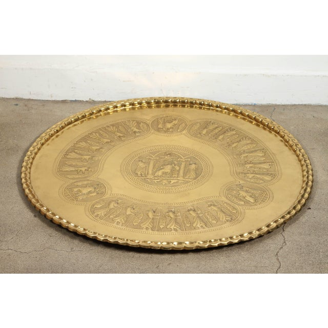 Islamic Large Brass Persian Hanging Tray For Sale - Image 3 of 9