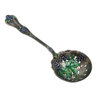 Antique Sterling Silver Enameled Pea Server