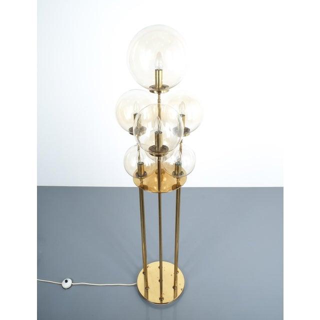 1960s Glashütte Limburg Brass Glass Floor Lamp, Germany 1960 For Sale - Image 5 of 10