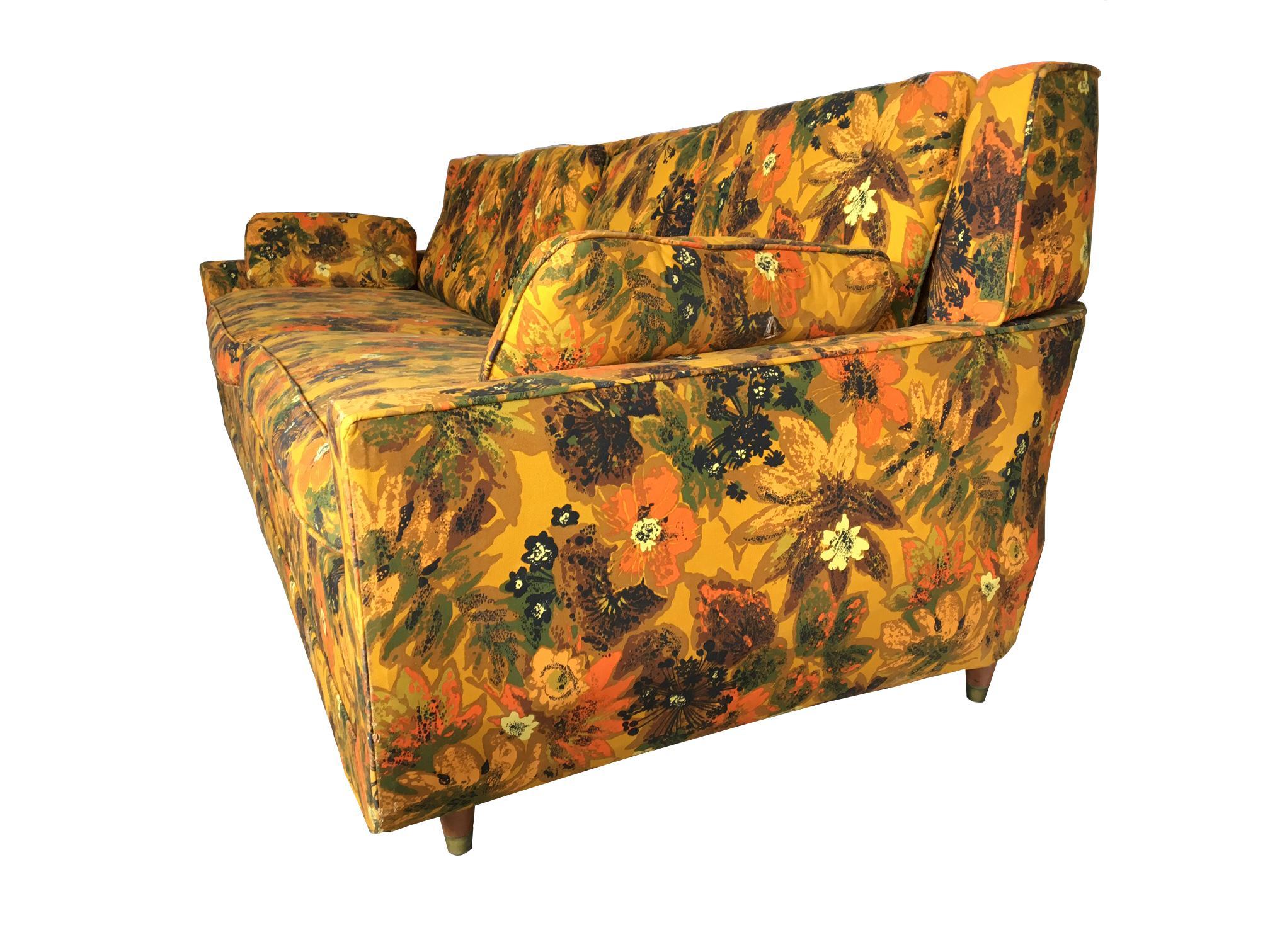 1967 Vintage Bernard Castro Mid Century Modern Floral Sleeper Sofa