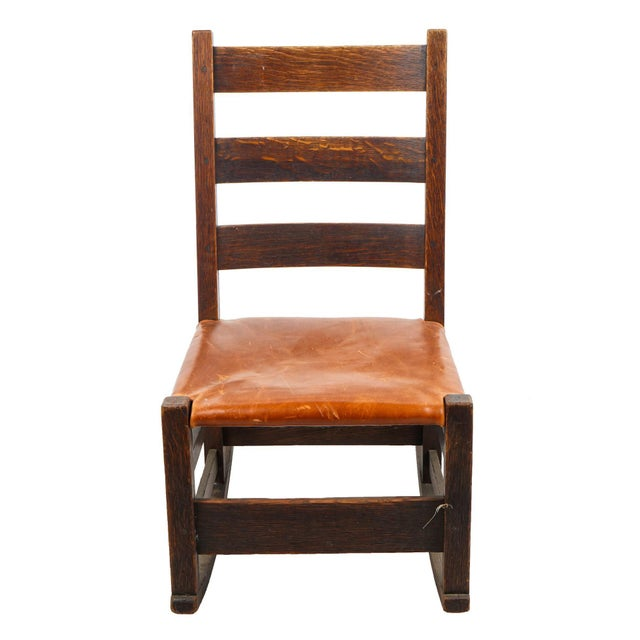 1910s Children's Arts & Crafts Oak Rocking Chair For Sale - Image 4 of 4