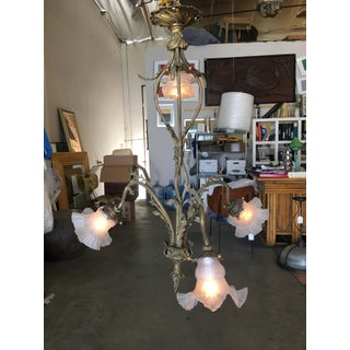 Ornate Cast Brass Floral Electric Chandelier, W/ Four Downlighter Arms Preview