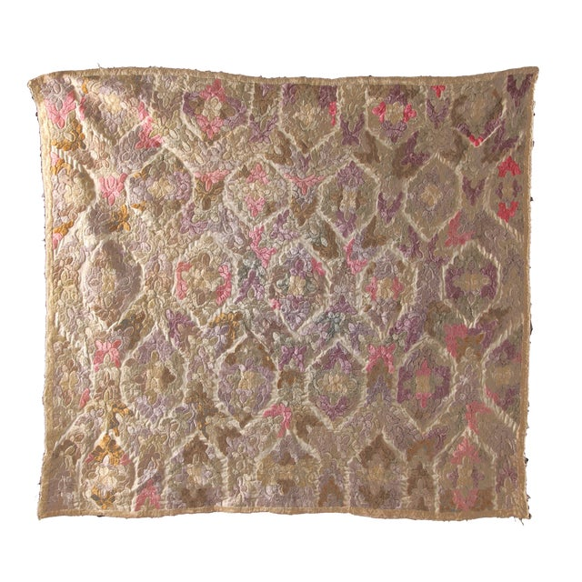 Antique Embroidered Damask Fabric For Sale