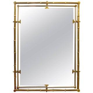 Vintage Italian Maison Jansen Style Brass and Steel Mirror