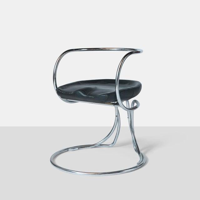 Bauhaus Vladimir Tatlin Tubular Chrome Chairs with Black Leather For Sale - Image 3 of 9