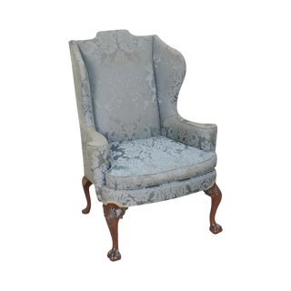 Chippendale Style Custom Mahogany Ball & Claw Foot Wing Chair For Sale