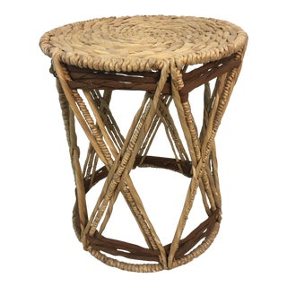 1970s Vintage Rattan Stool For Sale