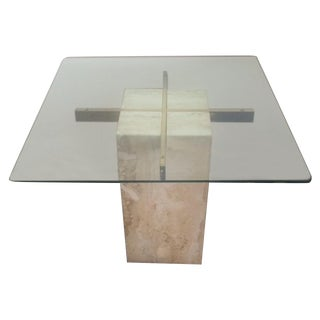 Brass & Glass Travertine End Table