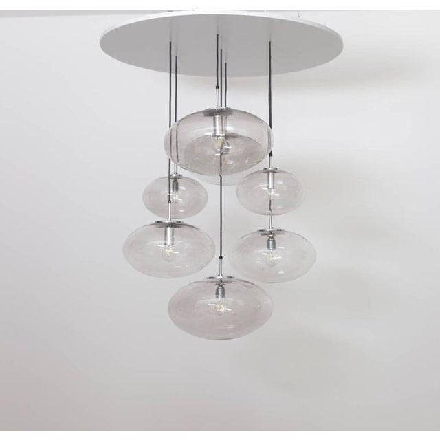 Extraordinary Huge Glass Globe Cascade Chandelier by Glashütte Limburg For Sale - Image 6 of 6