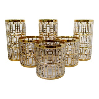 Imperial Glass Shoji Gold Glasses, Set of 6 For Sale