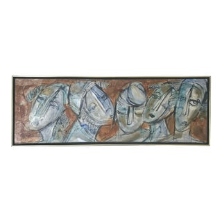 Mid 20th Century Abstract Faces Impasto Oil Painting by Moshe Katz, Framed For Sale