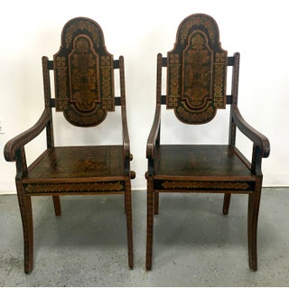Pair of Unique 19th Century Hand-Painted Moroccan Armchairs Preview