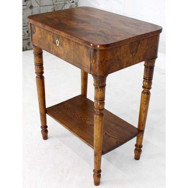 19th Century Biedermeier Burl Walnut One Drawer Sewing Stand Table For Sale - Image 9 of 13