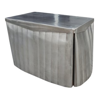 Modern Italian Metal Skirted Artisanal Sculpted Table For Sale