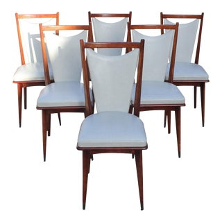 1940s French Art Deco Modern Solid Mahogany Dining Chairs - Set of 6 For Sale