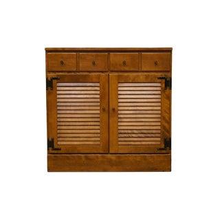 20th Century Early American Ethan Allen Heirloom Nutmeg Shutter Door Cabinet For Sale