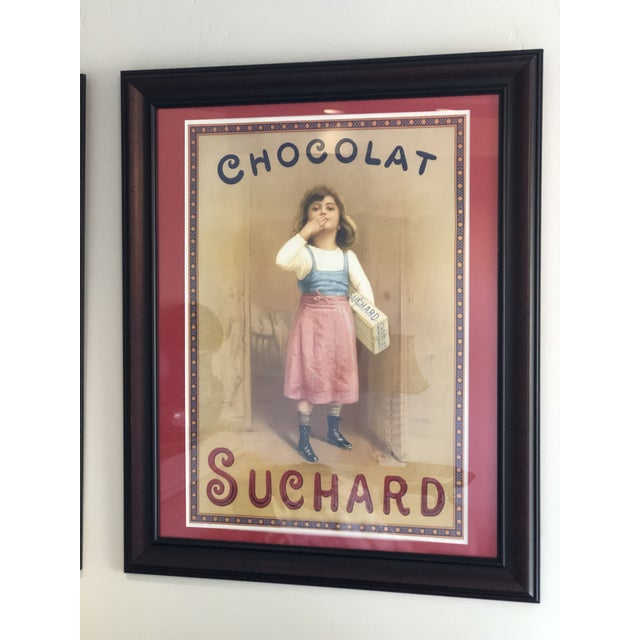Vintage French Chocolate Advertisement Custom Framed and Matted Print With Sturdy Hanging Wire For Sale - Image 10 of 10