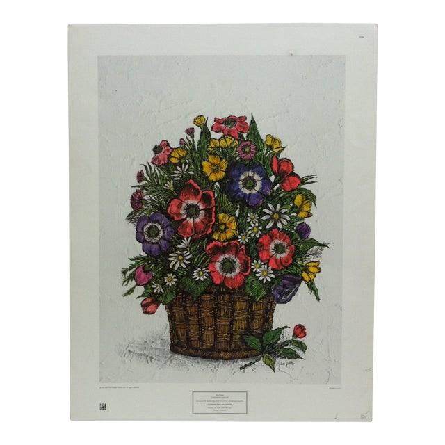 "1973 Vintage ""Basket Bouquet With Anemones"" Ida Pellei New York Graphic Society Floral Print For Sale"