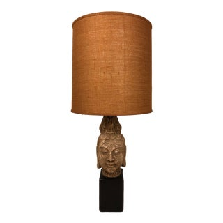 1970s Buddha Head Kwan Yin Lamp With Vintage Drum Shade For Sale